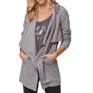 LA Hearts Draped Hooded Trench Jacket in Grey